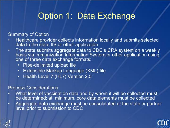Option 1:  Data Exchange
