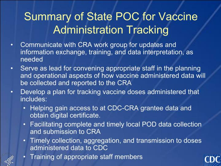 Summary of State POC for Vaccine Administration Tracking