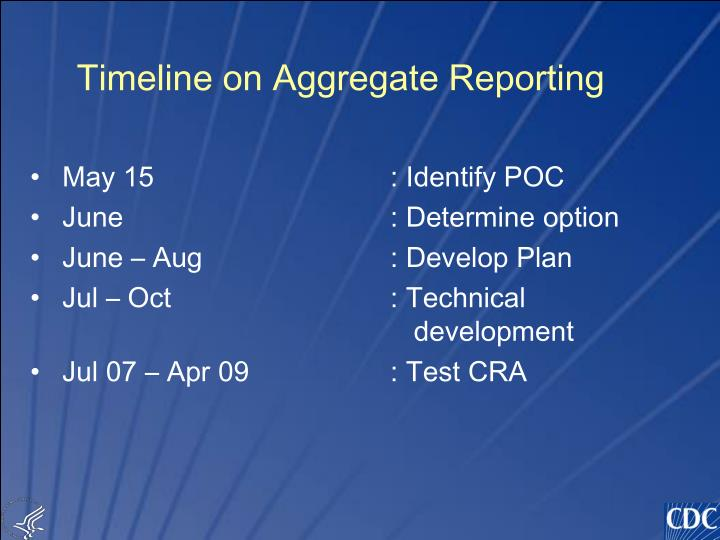 Timeline on Aggregate Reporting