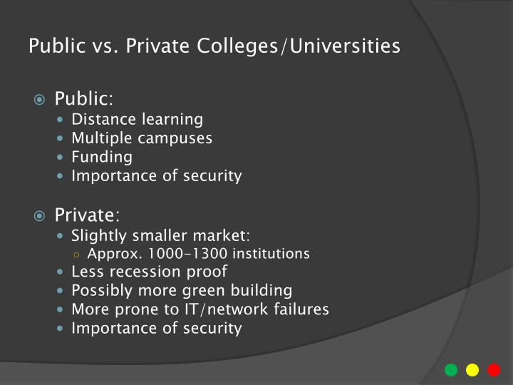 Public vs private colleges universities