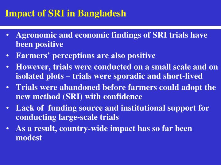 Impact of SRI in Bangladesh