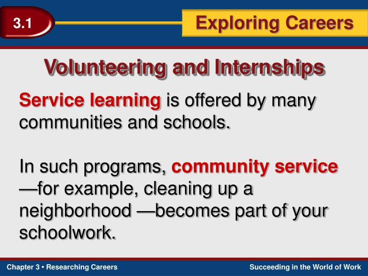 Volunteering and Internships
