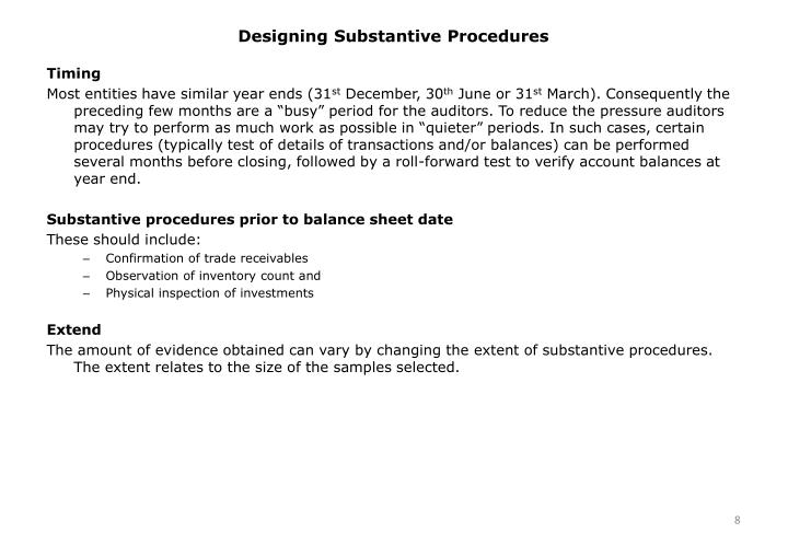 Designing Substantive Procedures