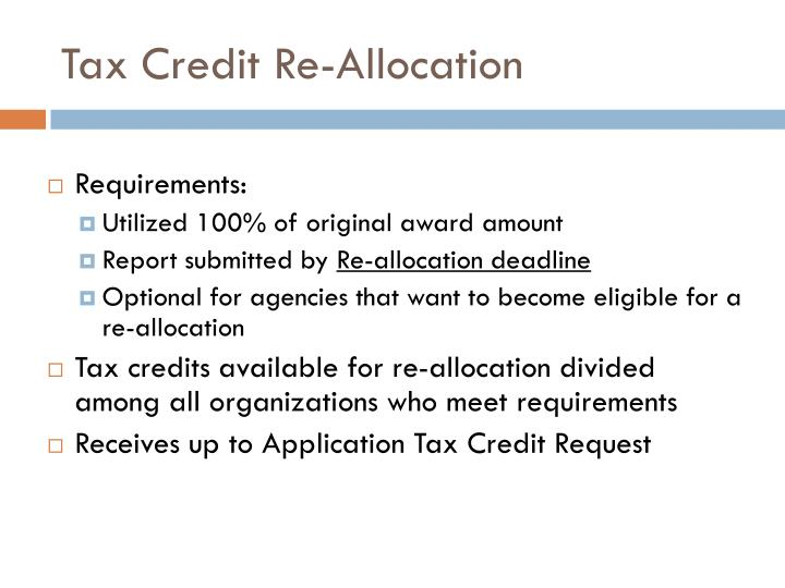 Tax Credit Re-Allocation