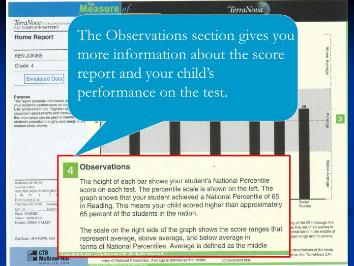 The Observations section gives you more information about the score report and your child's performance on the test.