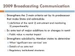 2009 broadcasting communication
