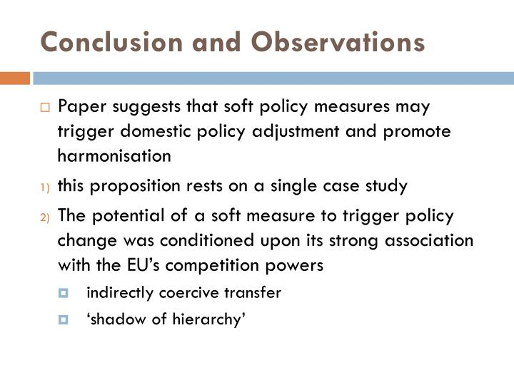 Conclusion and Observations