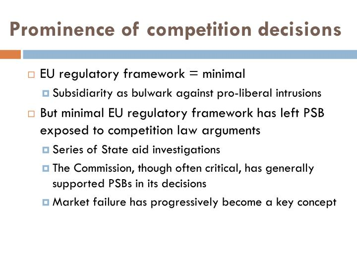 Prominence of competition decisions