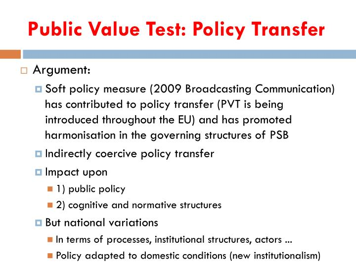 Public Value Test: Policy Transfer