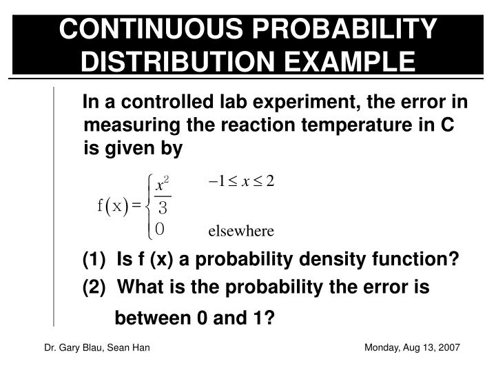 CONTINUOUS PROBABILITY DISTRIBUTION EXAMPLE