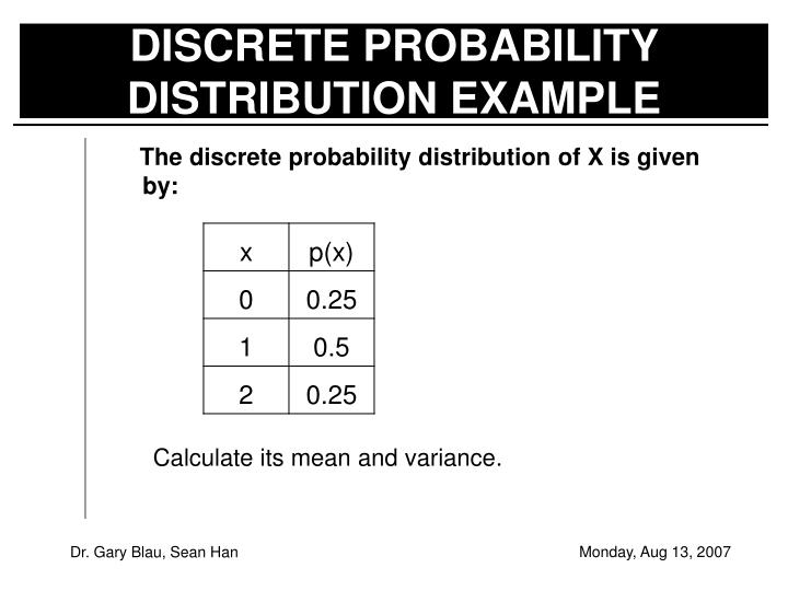 DISCRETE PROBABILITY DISTRIBUTION EXAMPLE