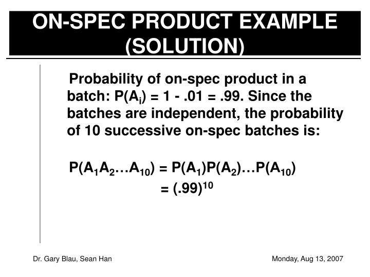 ON-SPEC PRODUCT EXAMPLE (SOLUTION)