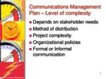 communications management plan level of complexity