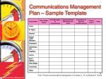 communications management plan sample template