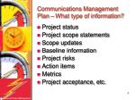 communications management plan what type of information