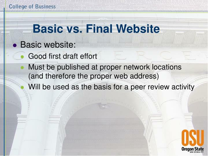 Basic vs. Final Website