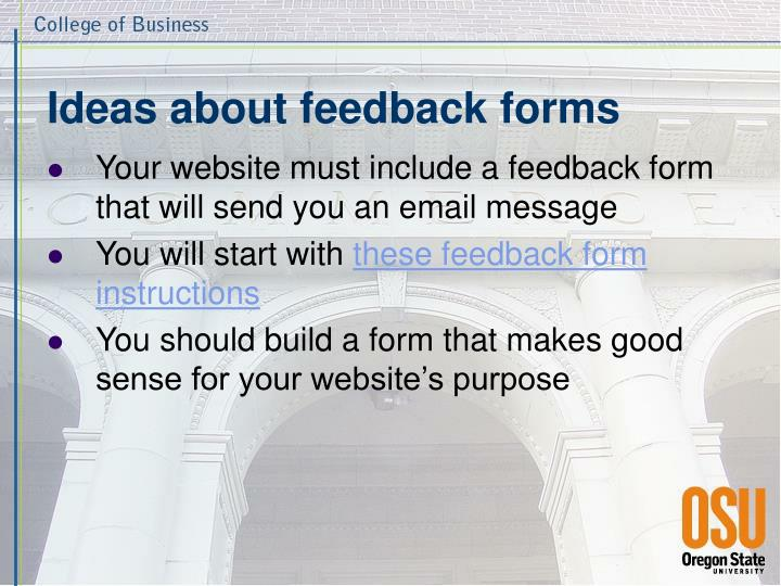 Ideas about feedback forms