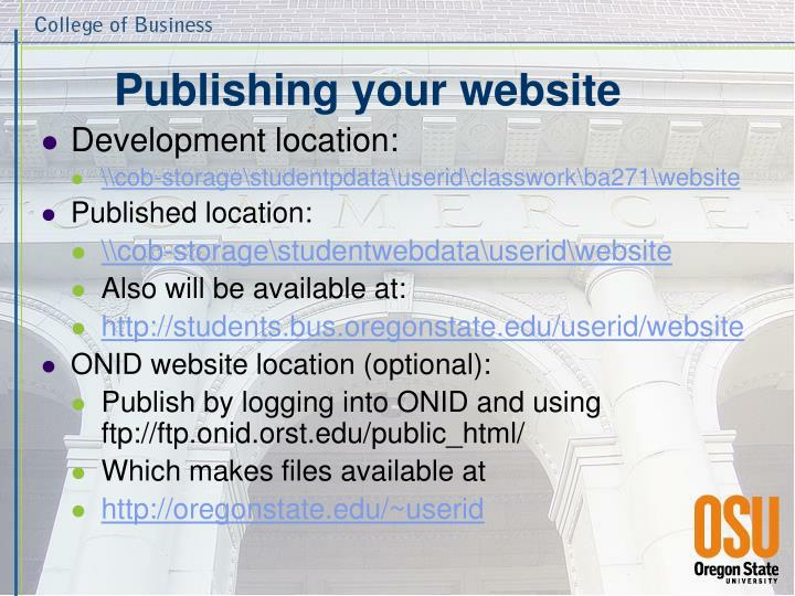 Publishing your website