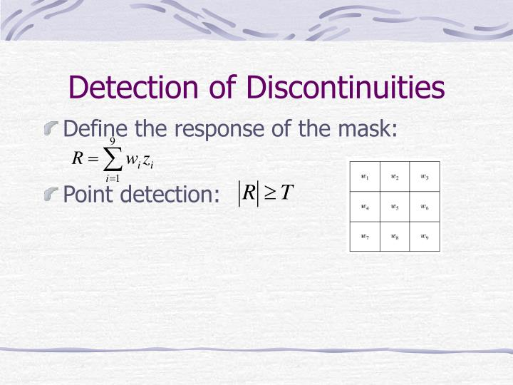 Detection of Discontinuities