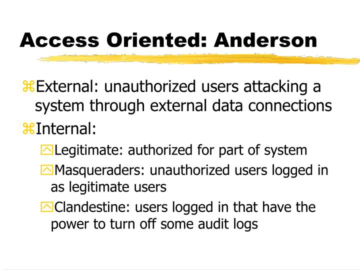Access Oriented: Anderson