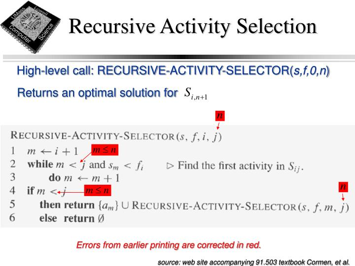 Recursive Activity Selection