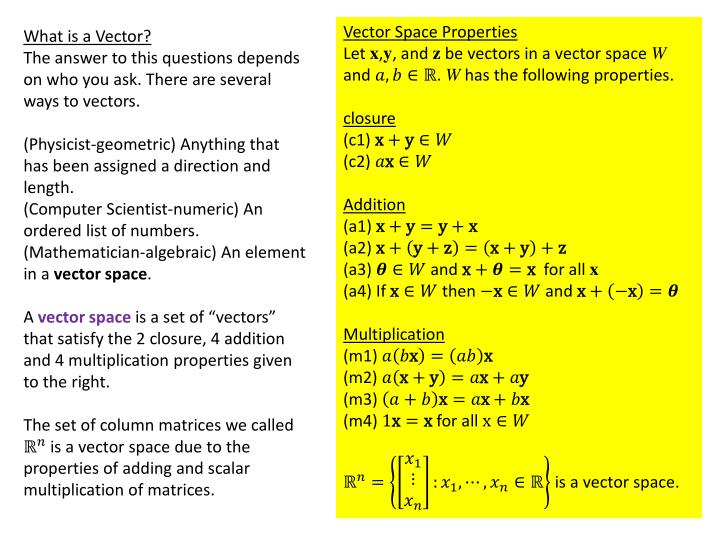 Vector Space Properties