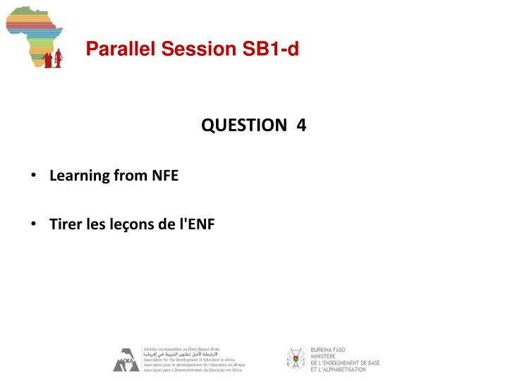 Parallel Session SB1-d