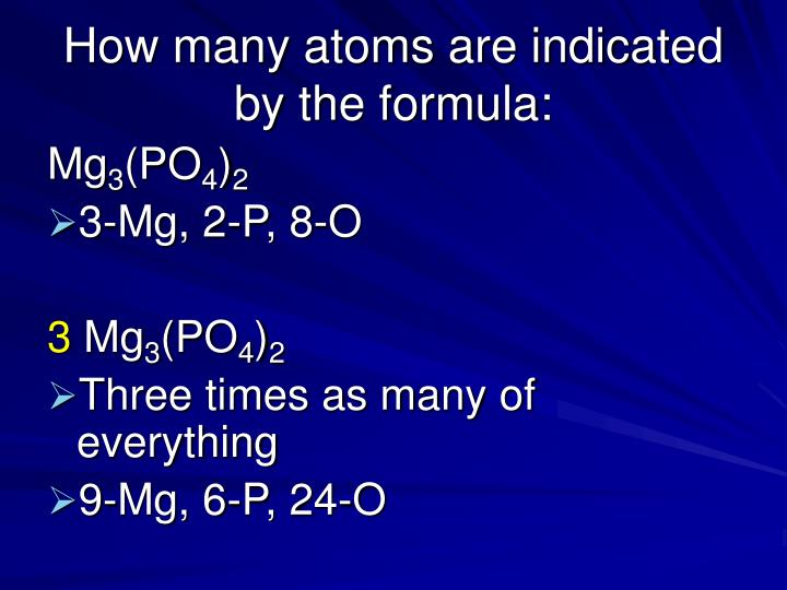 How many atoms are indicated by the formula: