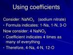 using coefficients