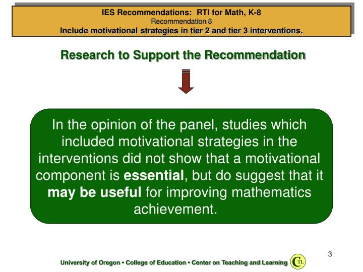 Research to Support the Recommendation