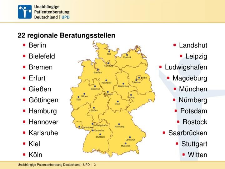 22 regionale Beratungsstellen