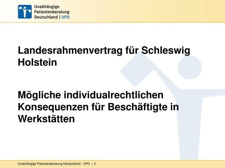 Landesrahmenvertrag für Schleswig Holstein