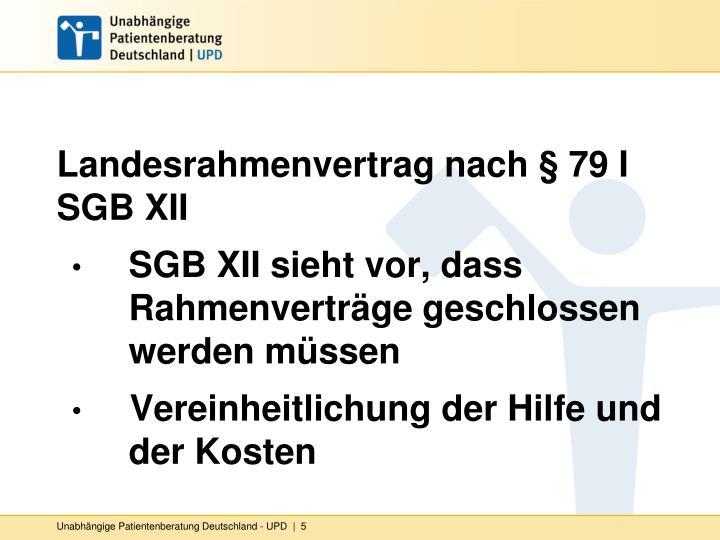 Landesrahmenvertrag nach § 79 I SGB XII