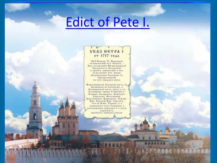 Edict of Pete I.