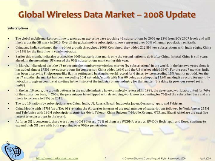 Global Wireless Data Market – 2008 Update