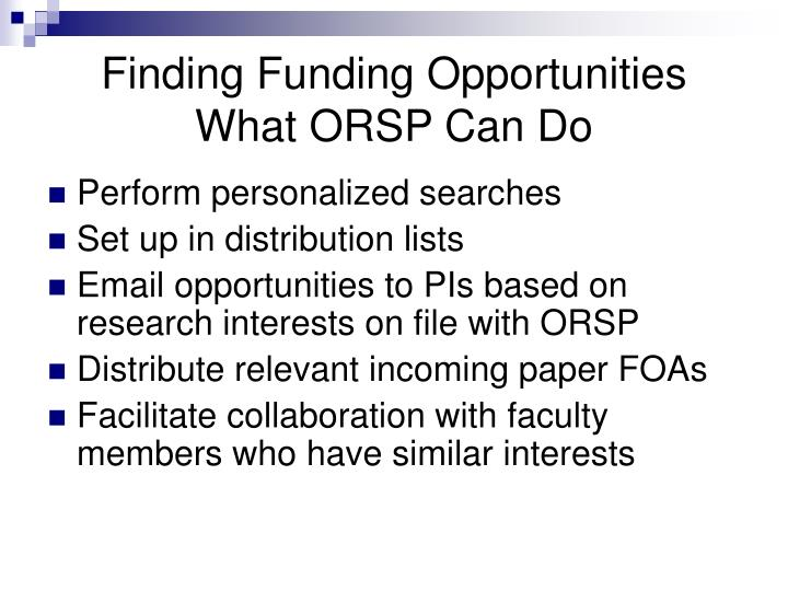 Finding Funding Opportunities