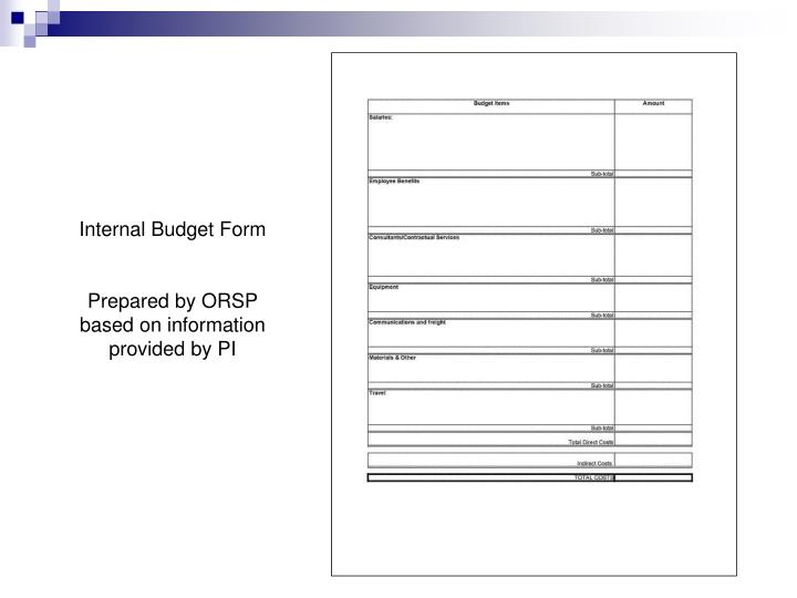 Internal Budget Form