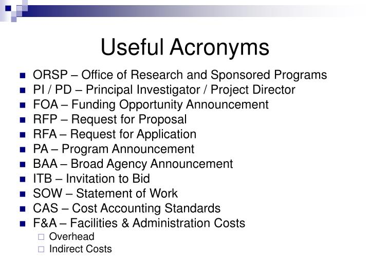 Useful Acronyms