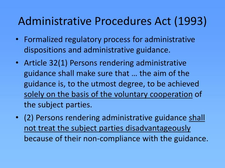 Administrative Procedures Act (1993)