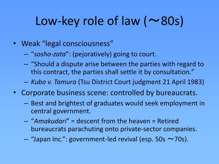 L ow key role of law 8 0s