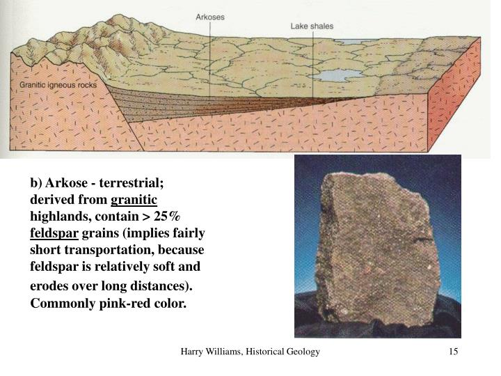 b) Arkose - terrestrial; derived from