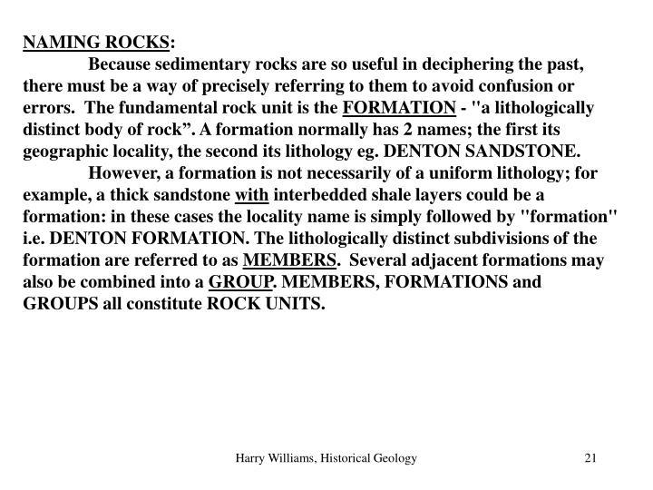 NAMING ROCKS