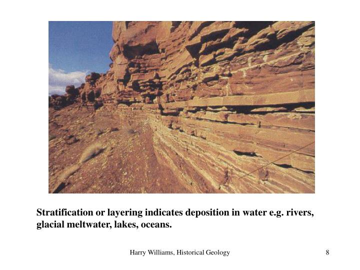 Stratification or layering indicates deposition in water e.g. rivers, glacial meltwater, lakes, oceans.