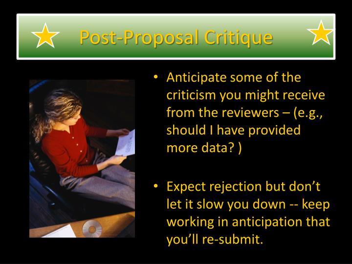 Post-Proposal Critique
