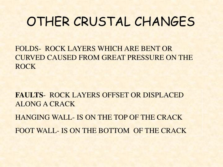 OTHER CRUSTAL CHANGES