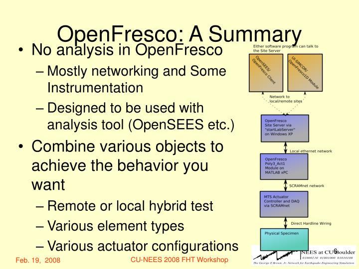 OpenFresco: A Summary