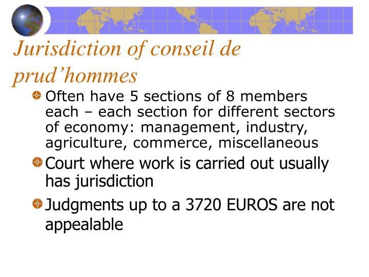 Jurisdiction of conseil de prud'hommes