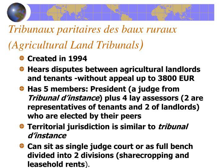 Tribunaux paritaires des baux ruraux (Agricultural Land Tribunals