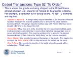 coded transactions type 02 to order