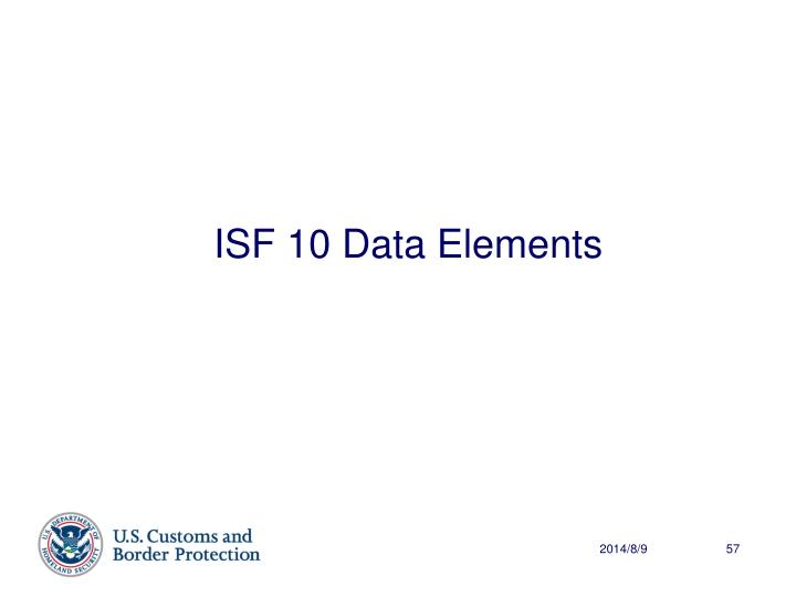 ISF 10 Data Elements